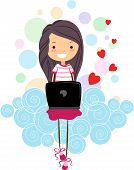 pic of long distance relationship  - Illustration of a Girl Chatting with Someone Through Her Laptop - JPG