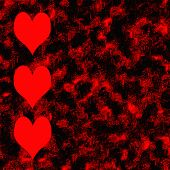 Red Hearts Border On Grunge Background