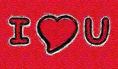 I Love Heart You Grunge On Red