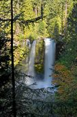 stock photo of mckenzie  - Vertical image of Koosah Waterfall in Oregon framed by fall foliage - JPG
