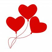 Постер, плакат: Heart balloons isolated icon on white background