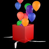 Opened Gift Box With Balloons