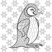 Постер, плакат: Coloring pages with King Penguin among snowflakes zentangle ill