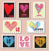 Set of Valentine's Day Postage Stamps