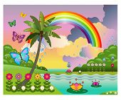 picture of tropical plants  - Imaginary tropical land with flowers - JPG
