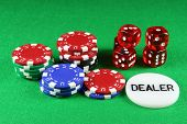 Poker Chips And 5 Dice