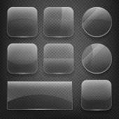 Glass square, rectangular and round buttons on checkered background. Vector icons set poster