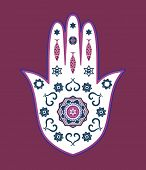 Jewish Hamsa Hand Amulet - Or Miriam Hand, Vector Illustration