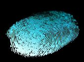 stock photo of serial killer  - identity fingerprint with a black back ground  - JPG