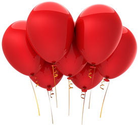picture of happy birthday  - Seven red balloons - JPG