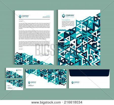 poster of Business identity design templates. Stationery set - Letterhead A4 template name card (35 x 2) envelope (8.66 x 4.33) presentation folder(9 x 12) with geometric pattern. Vector illustration.