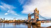 London cityscape panorama with River Thames Tower Bridge and Tower of London in the morning light poster