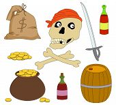 Jolly Roger and set of piracy objects