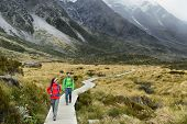 New Zealand trampers backpacking on Mount Cook / Aoraki Hooker valley travel. hikers hiking walking  poster