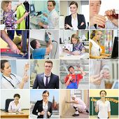 Collage with different workers - teacher, doctor, builder, chemist (9 models) poster