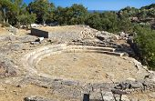 Ancient hellenistic theater at the temple of Great Gods at Samothraki