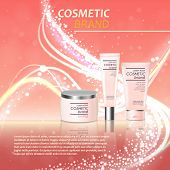 Vector 3D Cosmetic Illustration On A Soft Silk Background. Beauty Realistic Cosmetic Product Design poster