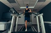 Athlete On Treadmill At Sports Science Lab poster
