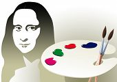 picture of mona lisa  - Wooden art palette with blobs of paint and a brush 