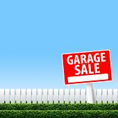 pic of garage  - Garage Sale sign on white fence and clear sky - JPG