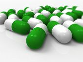 Green capsules, medical, pharmaceutical, medicine, drugs