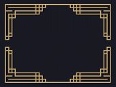 Art Deco Frame. Vintage Linear Border. Design A Template For Invitations, Leaflets And Greeting Card poster