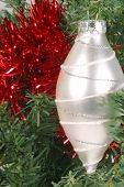 Silver Oval Ornament In Tree