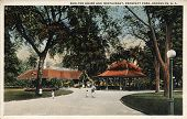 BROOKLYN, NEW YORK - CIRCA 1915: Vintage postcard depicting Shelter House & Restaurant of Prospect P