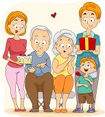 Illustration of a Family Celebrating Grandparents' Day