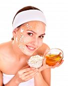 Natural homemade organic  facial masks of honey. Isolated.