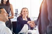 Mature businesswoman shaking hands with other businessman. Business people shaking hands during a me poster