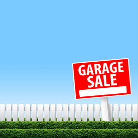 foto of yard sale  - Garage Sale sign on white fence and clear sky - JPG
