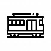 Public Transport Cable Car Vector Thin Line Icon. Cable Car Railway Machine, Urban Passenger Transpo poster