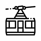 Public Transport Aerial Lift Thin Line Icon. Elevated Mountain Road Aerial Lift, Urban Passenger Tra poster