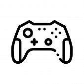 Interactive Kids Video Games Gamepad Icon Thin Line. Video Play Controller Joystick Detail Game Chil poster