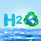 Water H2O. Formula On Water Eco Concept.