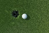 Golf Ball Go To The Hole On Lip Of Cup On Green Grass
