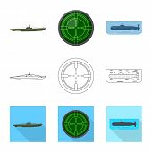 Vector Design Of War And Ship Sign. Collection Of War And Fleet Vector Icon For Stock. poster