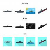 Vector Design Of War And Ship Logo. Collection Of War And Fleet Vector Icon For Stock. poster