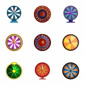 Spin Fortune Wheel Icon Set. Cartoon Set Of 9 Spin Fortune Wheel Vector Icons For Web Design Isolate poster