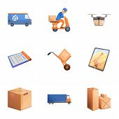 Courier Parcel Delivery Icon Set. Cartoon Set Of 9 Courier Parcel Delivery Vector Icons For Web Desi poster