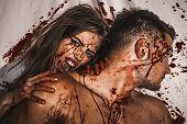 Love And Bloody Story - Vampire Woman Biting Her Lover. Vampire Fashion Design Scene, Sexy Female Va poster