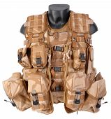 Military desert load bearing vest