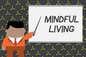Text Sign Showing Mindful Living. Conceptual Photo Fully Aware And Engaged On Something Conscious An poster