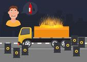 Gas Leak And Fire Inflaming Scared Vector Infographic Poster. Tanks Of Oil And Gas And Truck With Fu poster