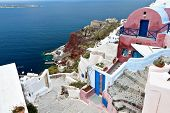 Traditional village of Oia at Santorini island in Greece