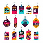 Hanging Tags Vector Collection. Price Tags Design. Label And Sale Tags For Shopping Promotions poster