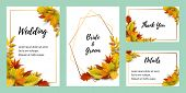 Wedding Invites Set With Falling Leaves. Autumn Background Vector Illustration. Place For Text. Grea poster