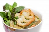 spicy shrimp soup in bowl poster