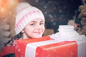 Teenager Hold Christmas Gift Box. Happy Little Girl With Christmas Gift Box. Cute Little Girl Near C poster